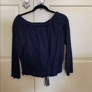 Navy off shoulder top from Theory!